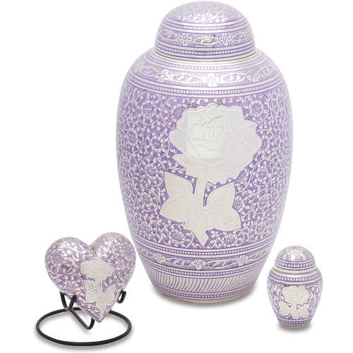 Urnsdirect2U Purple Rose Cremation Urn Set