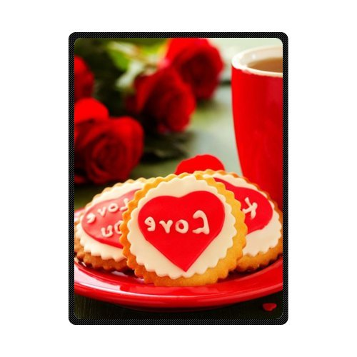 CADecor Heart and Rose Fleece Blanket Throws 58x80 inches
