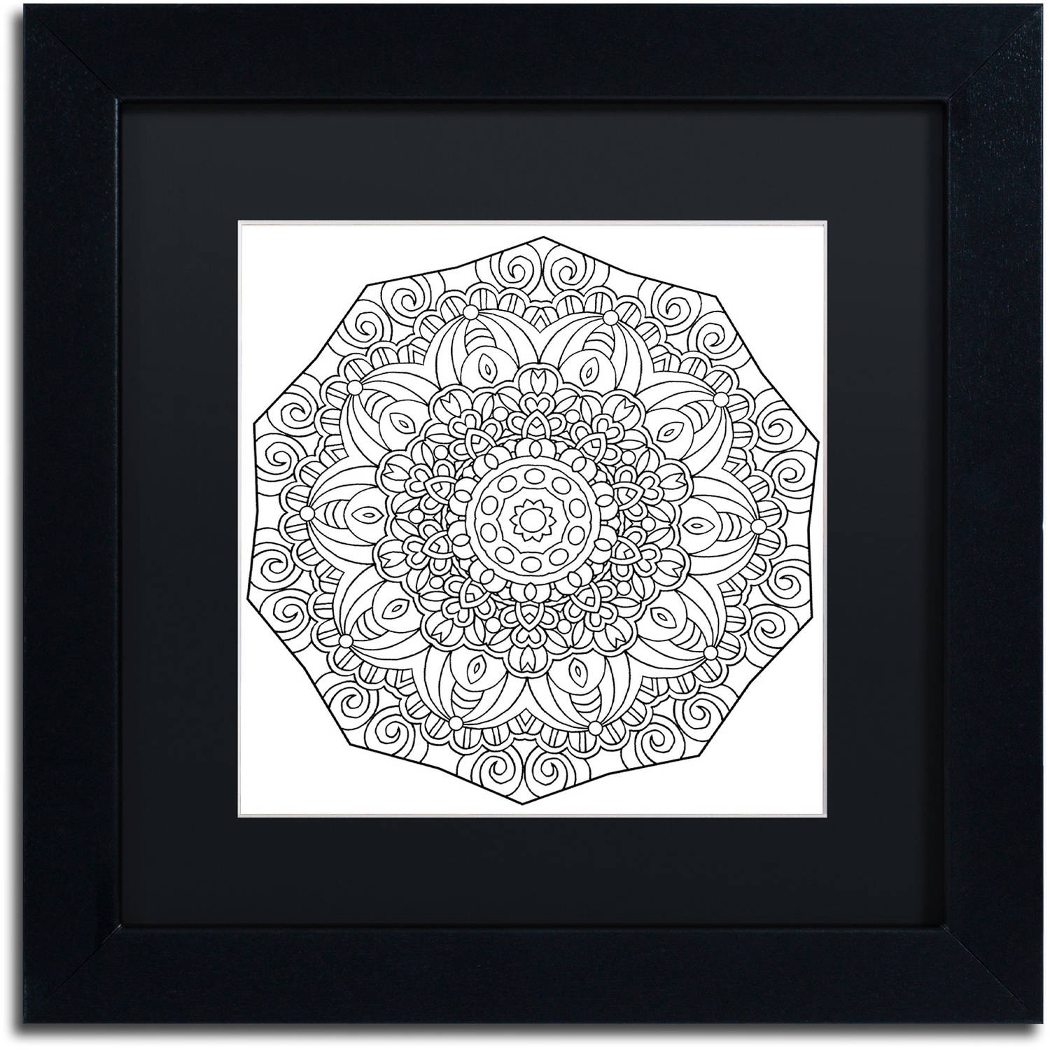 """Trademark Fine Art """"Mixed Coloring Book 11"""" Canvas Art by Kathy G. Ahrens, Black Matte, Black Frame"""