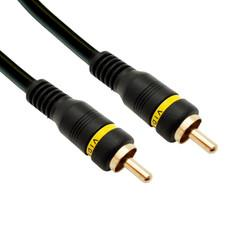 High Quality Composite Video Cable, RCA Male, Gold-plated Connectors, 35 foot