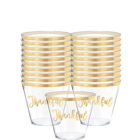 Thankful Thanksgiving Plastic Cups