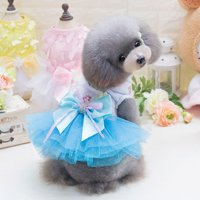 Pet Small Dog Dress Puppy Lace Princess Tutu Skirt Summer Costume Blue XS
