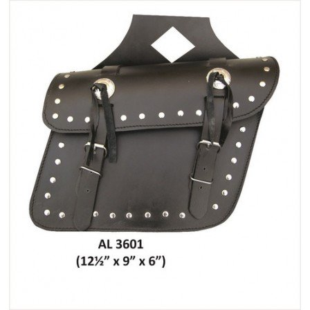 Motorcycle Medium Travel Studded throw-over Saddle Bag in Leather With (Saddle Leather Silhouette)