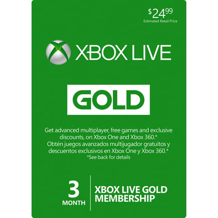 3 Month Microsoft Xbox One & Xbox 360 LIVE Gold Membership Card Subscription (Xbox Live 3 Code)