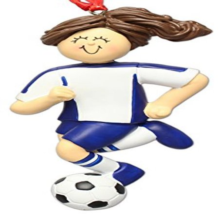 Soccer Dribbling Brunette Female in Blue Uniform Personalized Ornament