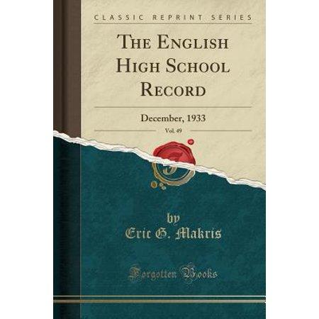 The English High School Record, Vol. 49 (Paperback)