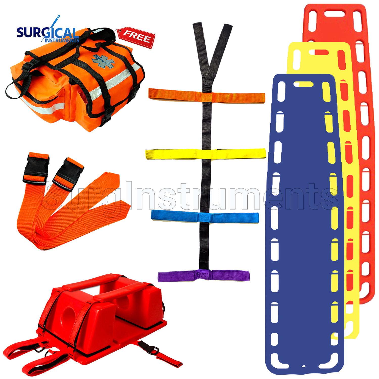 18' EMT Backboard Spine Board Stretcher Immobilization Kit - Free EMT Trauma Bag
