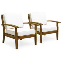 Best Choice Products Set of 2 Outdoor Acacia Wood Club Chairs with Cushions, Cream