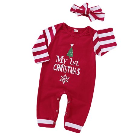 Infant Baby Girls My 1st Christmas Romper Bodysuit Stripes Headband Outfits Set