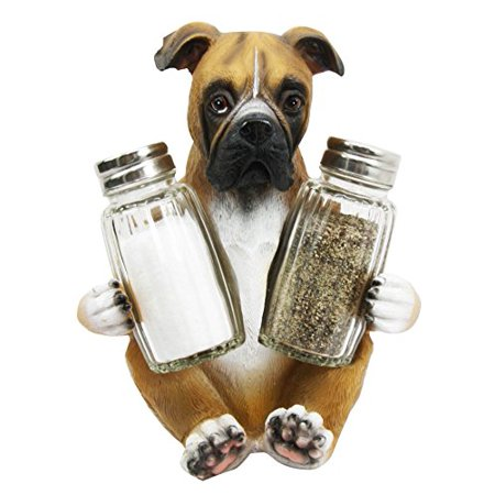 Adorable Hugging Fawn Boxer Dog Decorative Glass Salt Pepper Shakers Holder Resin