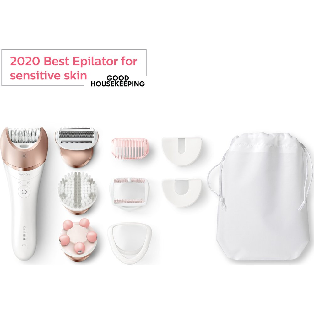 Philips Satinelle Prestige Epilator, Wet & Dry Electric Hair Removal, Body Exfoliation and Massage (BRE648)