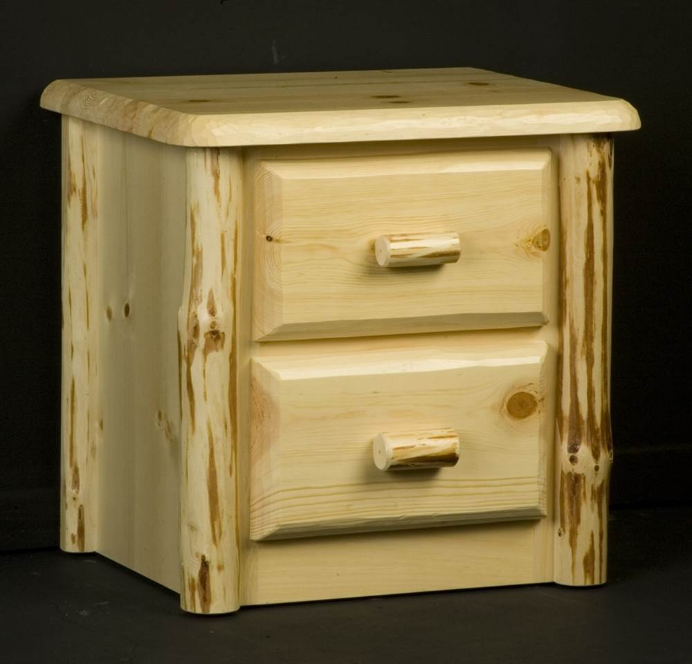 Wilderness 2 Drawer Nightstand in Clear Lacquer Finish