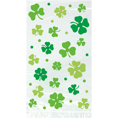 St. Patrick's Day Lucky Shamrock Cellophane Bags, 20 Count