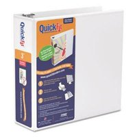 "Stride QuickFit Round-Ring View Binder, 3"" Capacity, White"