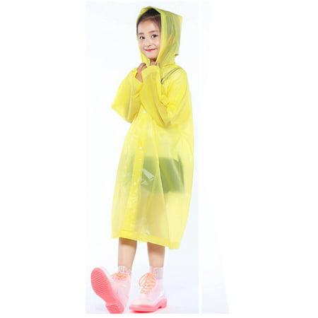 1PC Portable Reusable Raincoats Children Rain Ponchos For 6-12 Years