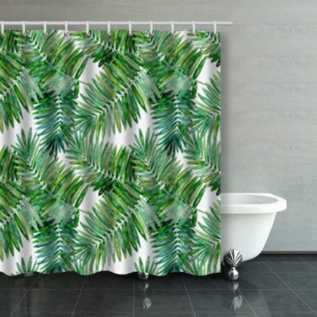 BPBOP Seamless Tropical Pattern Bright Green Palm Watercolor Pine