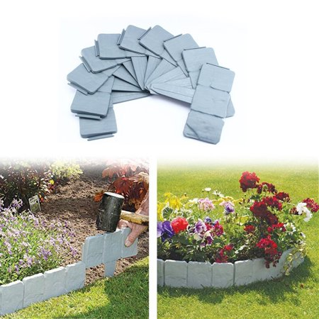 plastic garden edging border10 pcs grey cobbled stone effect garden border lawn edging plant - Plastic Garden Edging