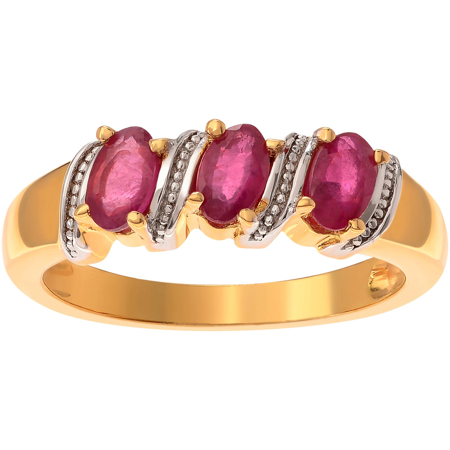 Brinley Co. Women's Ruby 14kt Gold over Sterling Silver Three-Stone Fashion Ring by KNS International