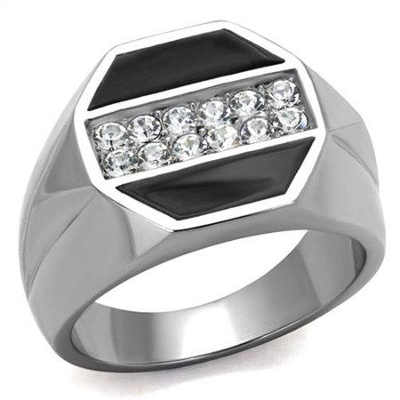 Men's Round Cut Cubic Zirconia Crystal Stainless Steel & Epoxy Ring Size 10 ()