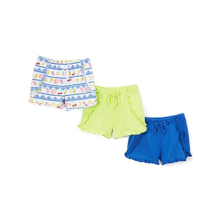 Solid and Print Ruffle Shorts, 3-Pack (Little Girls & Big Girls) - Buy Girl Online