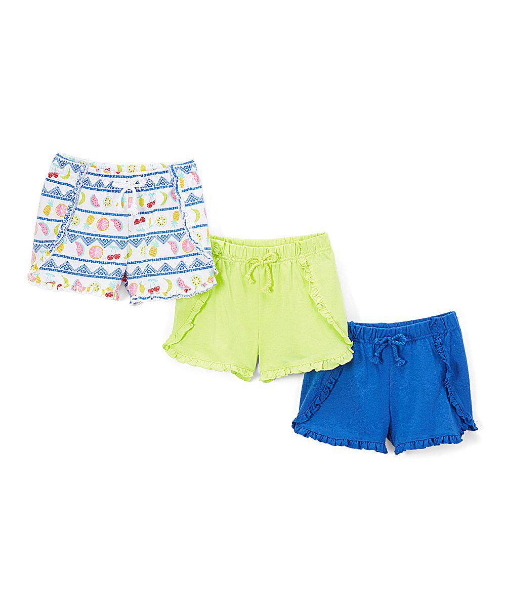 Solid and Print Ruffle Shorts, 3-Pack (Little Girls & Big Girls)