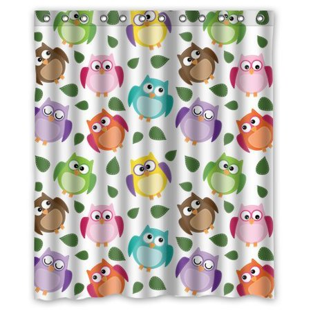 EREHome Owl Shower Curtain Polyester Fabric Bathroom Decorative Curtain Size 60x72 Inches - image 1 de 1