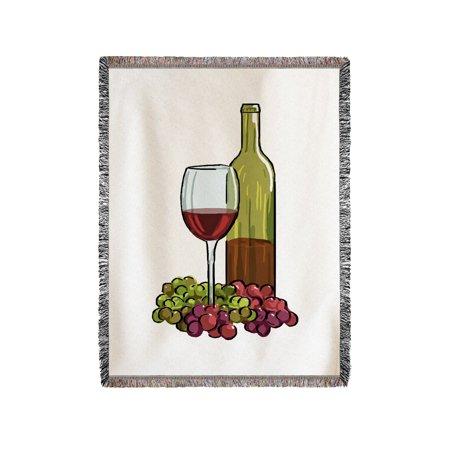 Wine Glass  Bottle    Grapes   Icon   Lantern Press Artwork  60X80 Woven Chenille Yarn Blanket