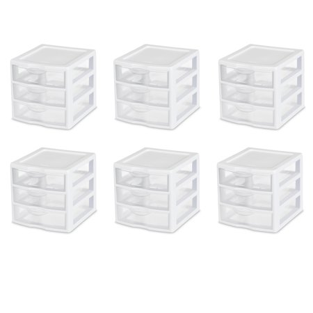 Sterilite, Small 3 Drawer Unit, White, Case of 6