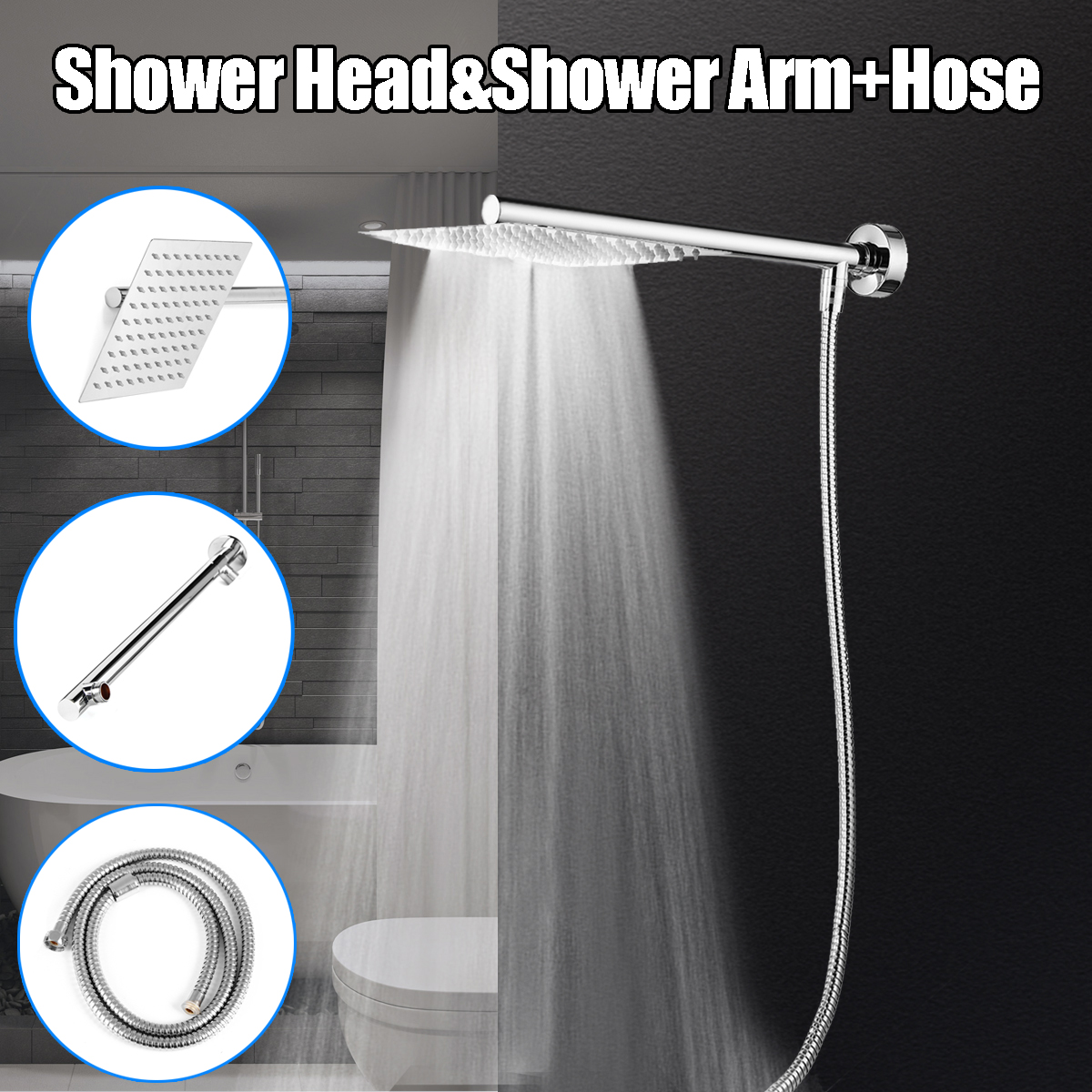 8'' Square Stainless Steel Rainfall Shower Head Extension Shower Arm Wall Mount