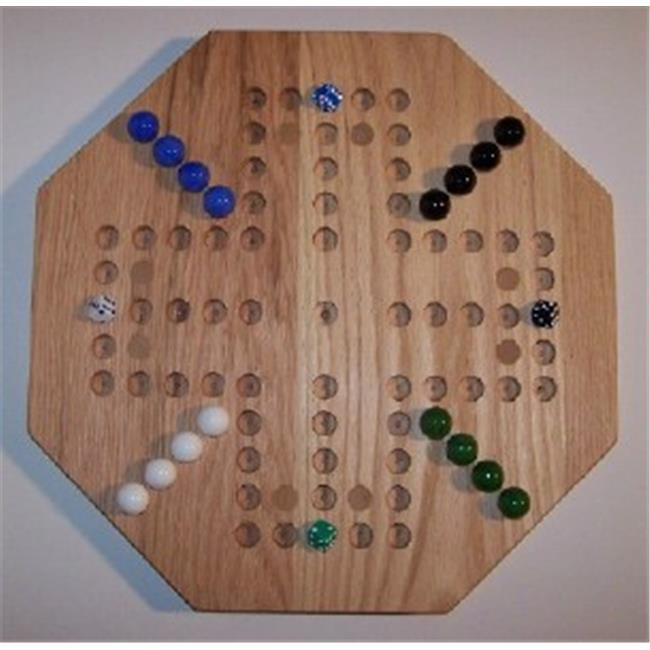Charlies Woodshop W-1927alt. -1 Wooden Marble Game Board - Red Oak with 8 Birch Inlaid Spots