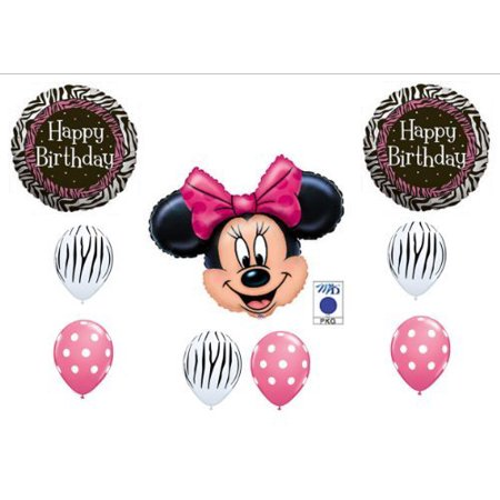 PINK MINNIE MOUSE AND ZEBRA PRINT BIRTHDAY PARTY Balloons Decorations Supplies by Anagram (Pink Zebra Party Supplies)