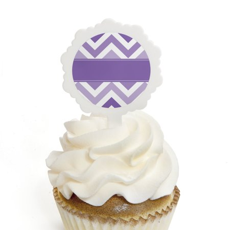 Chevron Purple - Cupcake Picks with Stickers - Baby, Bridal Shower or Birthday Party Cupcake Toppers - 12 Count
