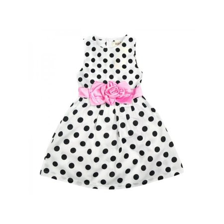 SunshineLLC Princess Baby Kids Girls Party Wedding Polka Dot Flower Gown Fancy Dress