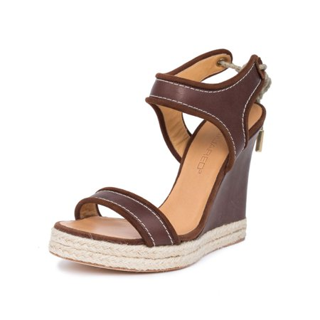 Brown Espadrille - Dsquared2 Women Brown Leather Espadrille Platform Wedge Heel Sandals Shoes US 9 EU 39