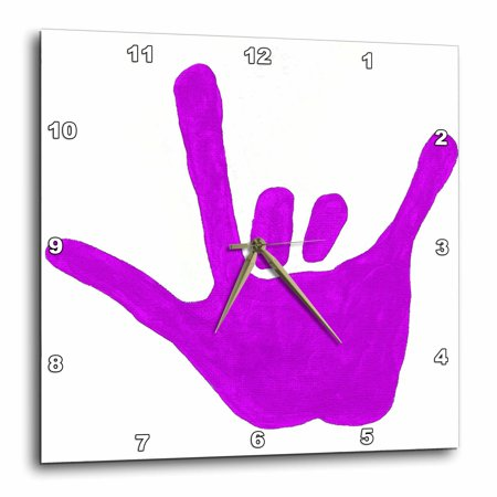 3Drose Love Hand Sign Language In Purple  Wall Clock  15 By 15 Inch