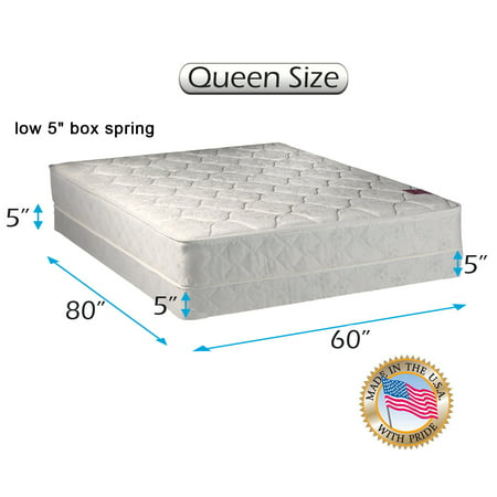 "Legacy Queen - 60""x80""x8"" Mattress and Low Profile Box Spring Set - Fully Assembled, Good for your back, Superior Quality - One Sided - None Flip by Dream Solutions USA"