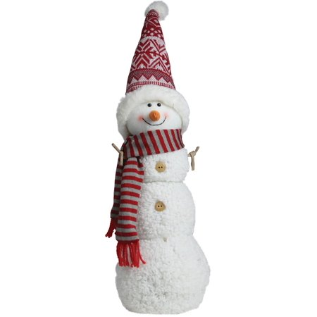 Northlight Seasonal Snowman with Red/Gray Striped Scarf Christmas Tabletop Decoration](Christmas Tabletop Decorations)