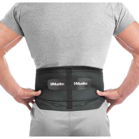 Mueller Adjustable Lumbar Back Brace with Removable Pad, Regular, Fits Waist Sizes 28