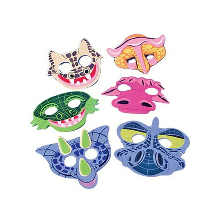 Set of 12 New Halloween Costume Party Foam Dinosaur Face Masks (Time To Party Halloween)