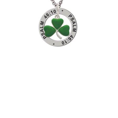Green Three Leaf Clover - Shamrock Psalm 46:10 Affirmation Ring Necklace