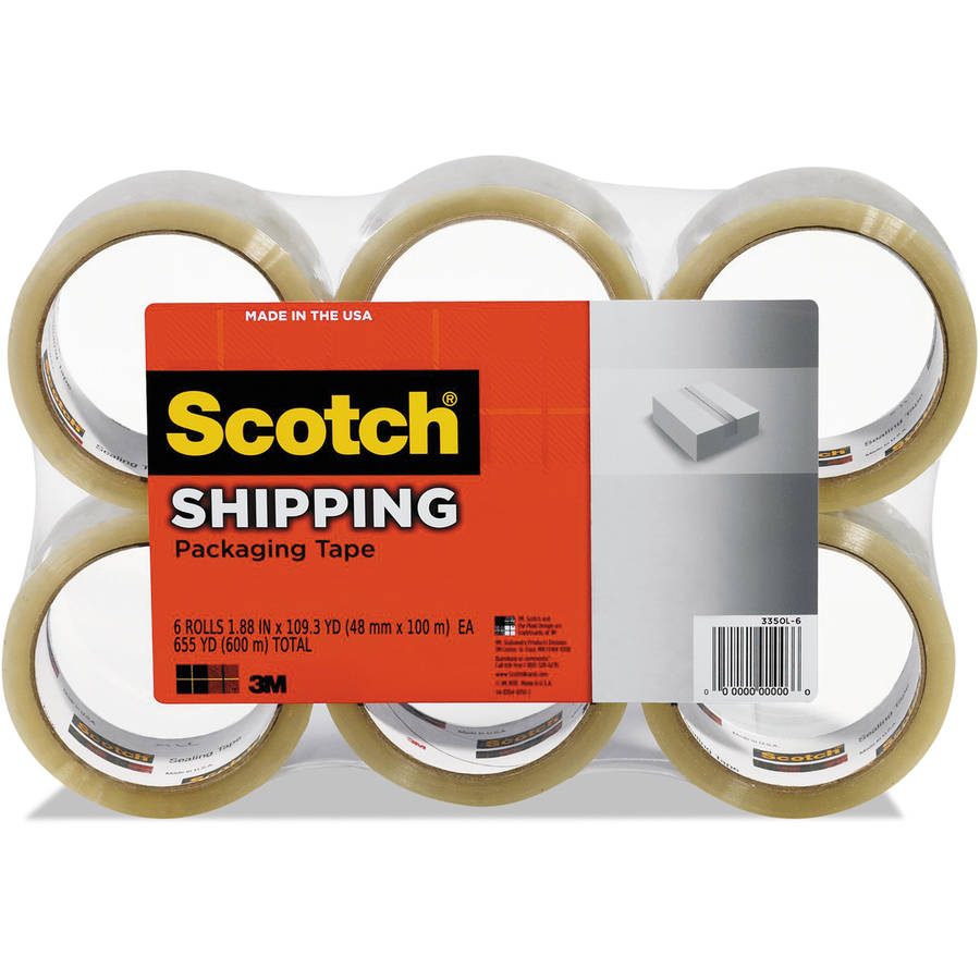 "Scotch 1.88"" x 109 yd 3350 General Purpose Packaging Tape, Clear, 6-Pack"