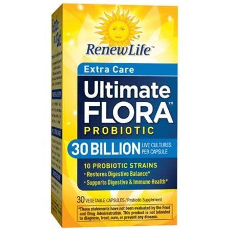 Renew Life Flora Ultime Extra-Attentive Probiotic capsules végétales 30 ch (pack de 2)