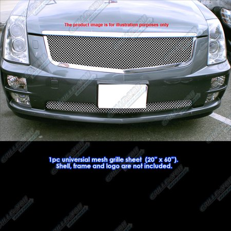Universal Stainless Steel Chrome 2.5mm Wire Mesh 20inchx60inch 1 PC Grille Grill Insert Chrome Argent Grille Grill