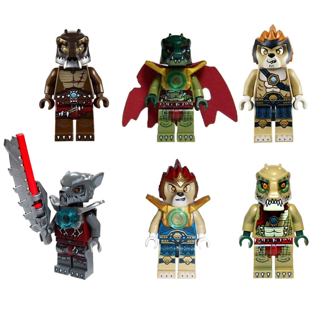 LEGO Minifigures - Legends of Chima - SET OF 6 (Cragger, Laval, Leonidas, Wakz, Crawley & Crug)