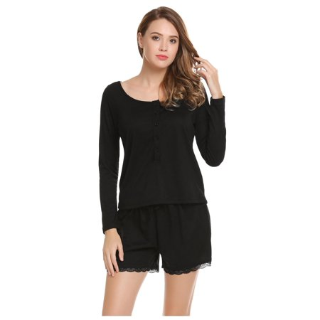 Women Casual O-Neck Long Sleeve Solid Tops and Elastic and Lace Up Waist Shorts Pajama Sets HFON