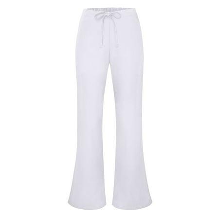 Adar Universal Flare Leg Natural-Rise Drawstring Pants Petite - 507P - White - XL