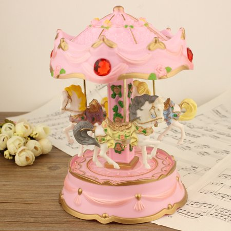 Tuscom LED Light Luminous Rotating Luxury Rotating Carousel Horse Music Box For Gift