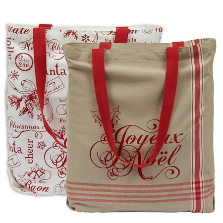 DII Cotton Christmas Holiday Candy Tote Gift Bag, 15x16x4