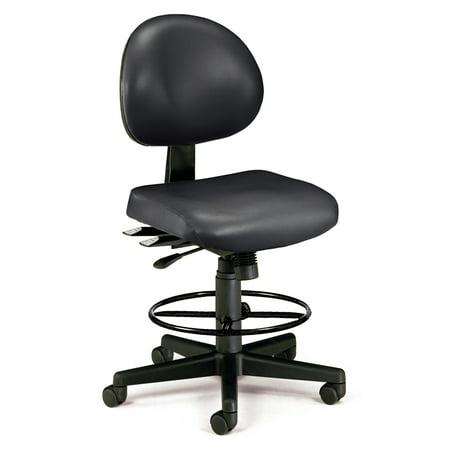 Vam Dk Vinyl (Office furniture BLACK Model 241-VAM-DK 24-Hour Ergonomic Multi-Adjustable Vinyl Armless Task Chair with Drafting Kit)