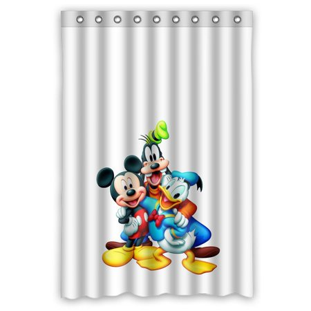 Deyou Mickey Mouse And Donald Duck Cartoon Shower Curtain Polyester Fabric Bathroom Shower